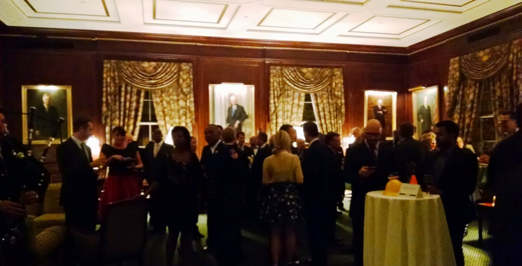 Supporters and guests mingle during the cocktail reception.