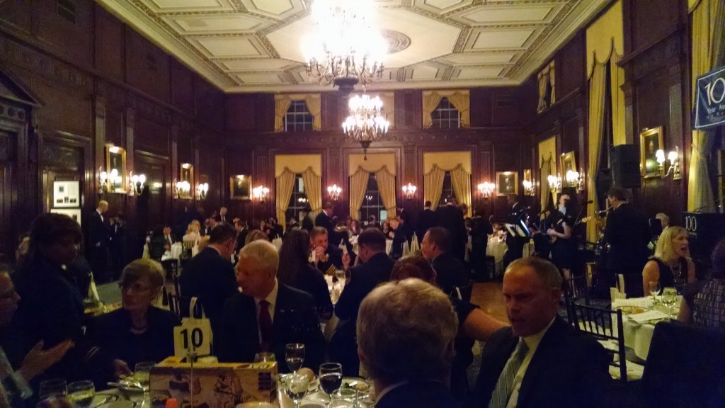 Supporters and guests enjoy dinner; toy centerpieces where donated to the Madison Square Boys and Girls Club.