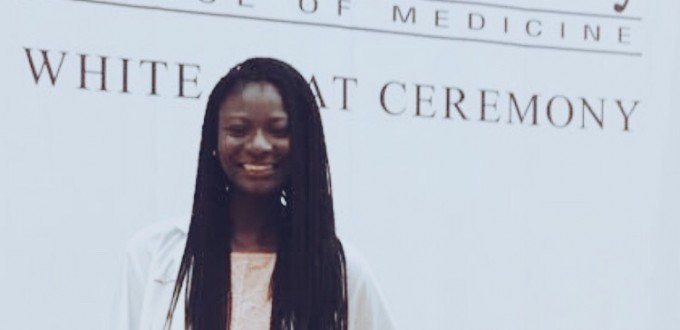 Former College Scholarship, Jesam Usani at her White Coat Ceremony for St. George's University School of Medicine.