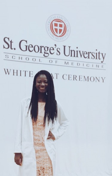 Former College Scholarship, Jesam Usani at her White Coat Ceremony for St. George's University School of Medicine.