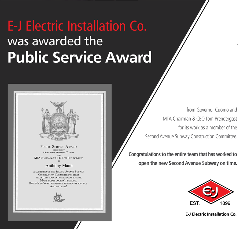 E-J Electric Installion Co. receives Public Service Award